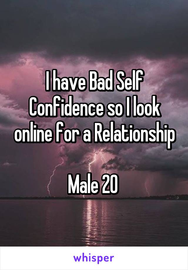 I have Bad Self Confidence so I look online for a Relationship  Male 20