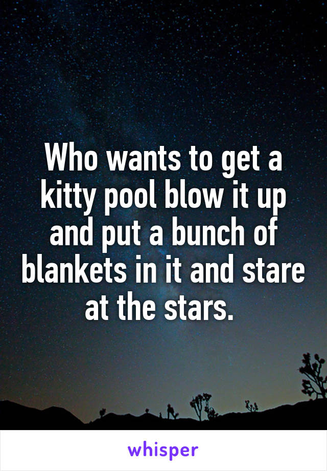 Who wants to get a kitty pool blow it up and put a bunch of blankets in it and stare at the stars.