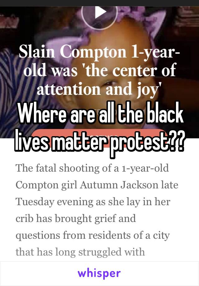 Where are all the black lives matter protest??
