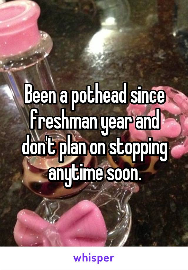 Been a pothead since freshman year and don't plan on stopping anytime soon.