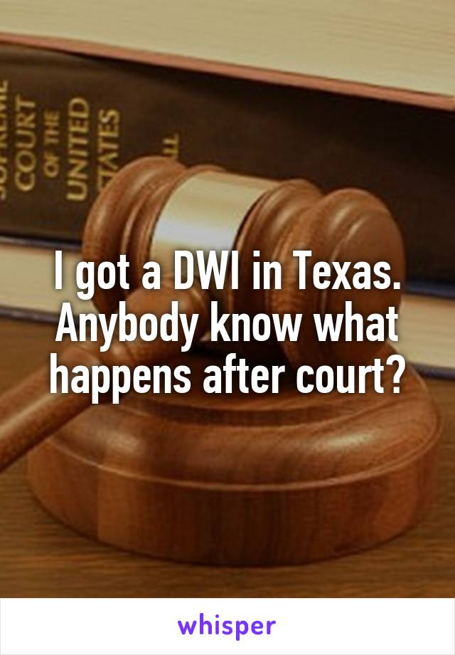 I got a DWI in Texas. Anybody know what happens after court?