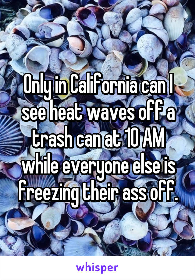 Only in California can I see heat waves off a trash can at 10 AM while everyone else is freezing their ass off.