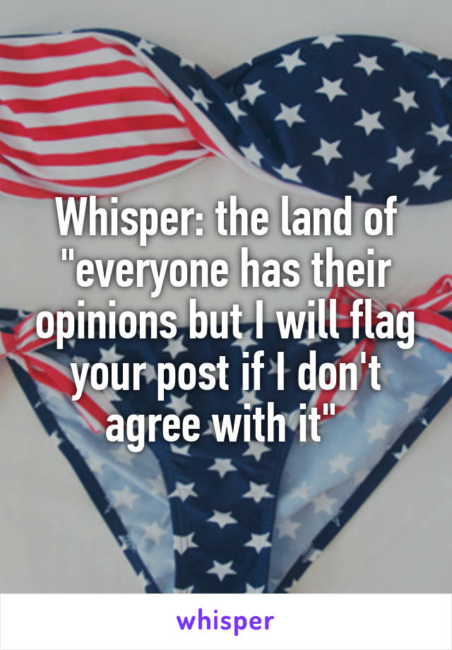 "Whisper: the land of ""everyone has their opinions but I will flag your post if I don't agree with it"""