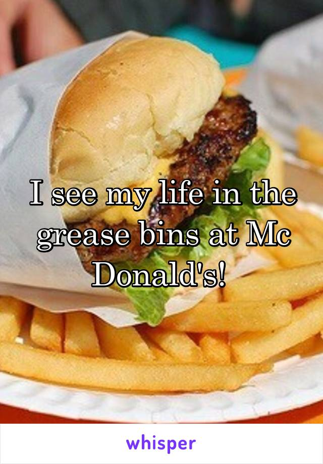 I see my life in the grease bins at Mc Donald's!
