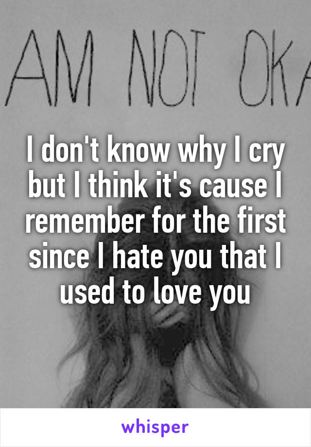 I don't know why I cry but I think it's cause I remember for the first since I hate you that I used to love you
