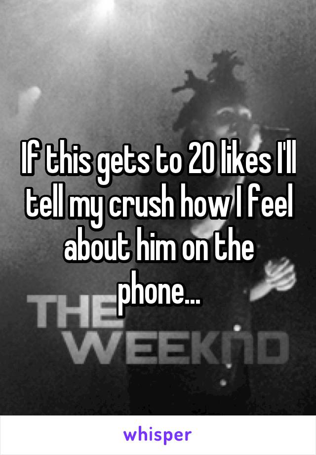 If this gets to 20 likes I'll tell my crush how I feel about him on the phone...