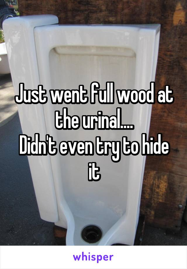 Just went full wood at the urinal.... Didn't even try to hide it