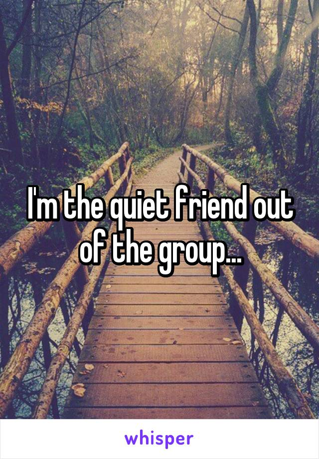I'm the quiet friend out of the group...