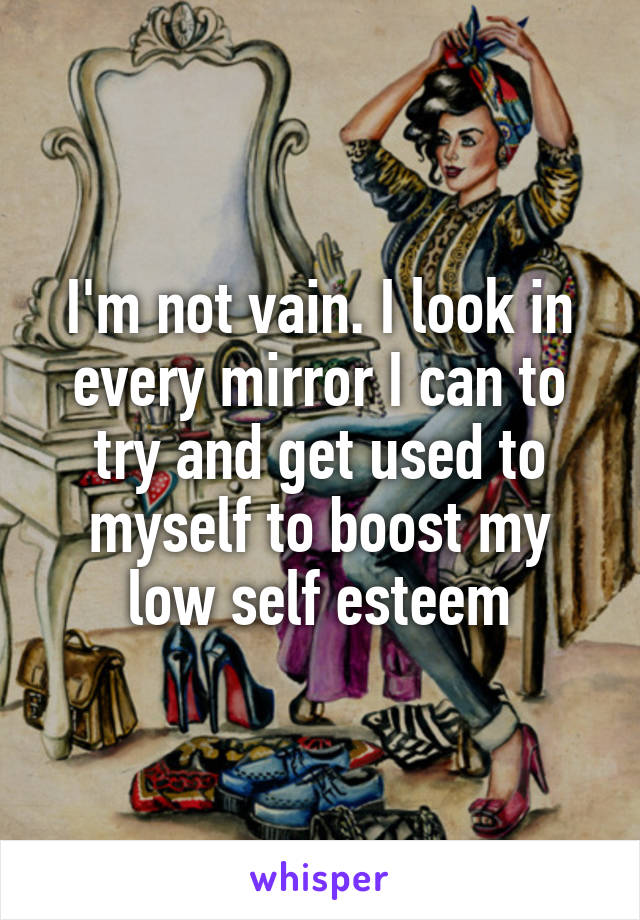 I'm not vain. I look in every mirror I can to try and get used to myself to boost my low self esteem