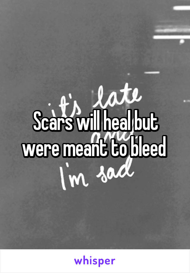 Scars will heal but were meant to bleed