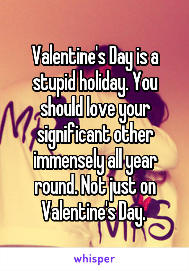Valentine's Day is a stupid holiday. You should love your significant other immensely all year round. Not just on Valentine's Day.