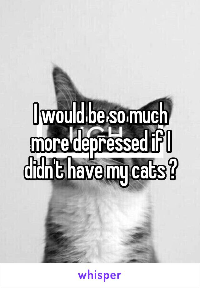 I would be so much more depressed if I didn't have my cats 😺