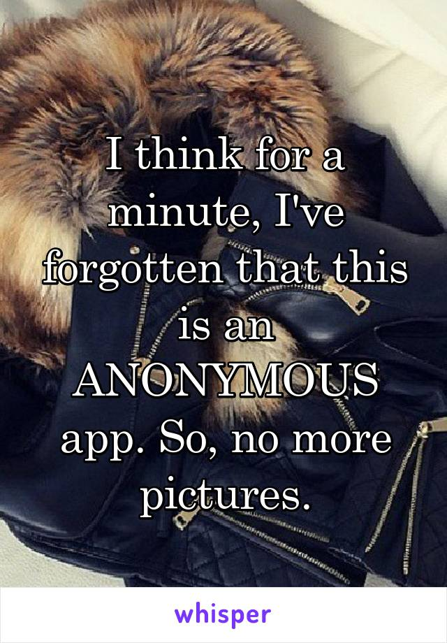 I think for a minute, I've forgotten that this is an ANONYMOUS app. So, no more pictures.