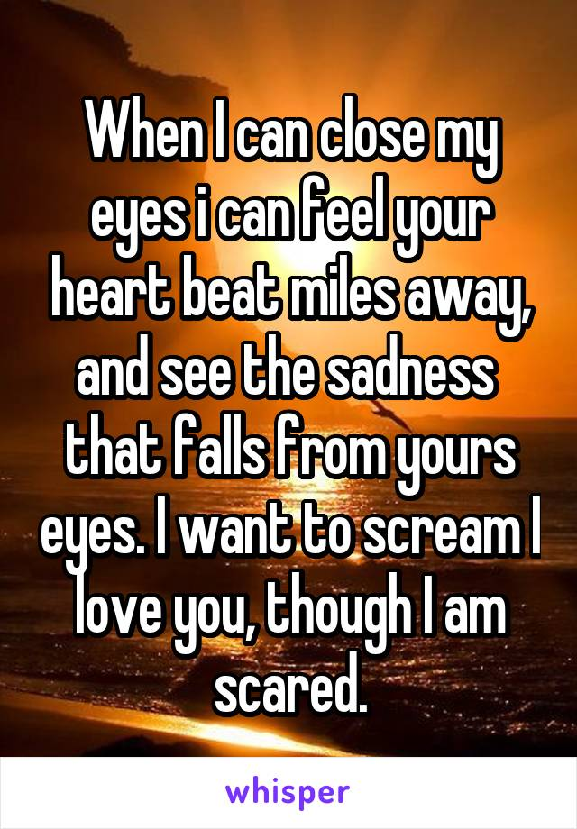 When I can close my eyes i can feel your heart beat miles away, and see the sadness  that falls from yours eyes. I want to scream I love you, though I am scared.
