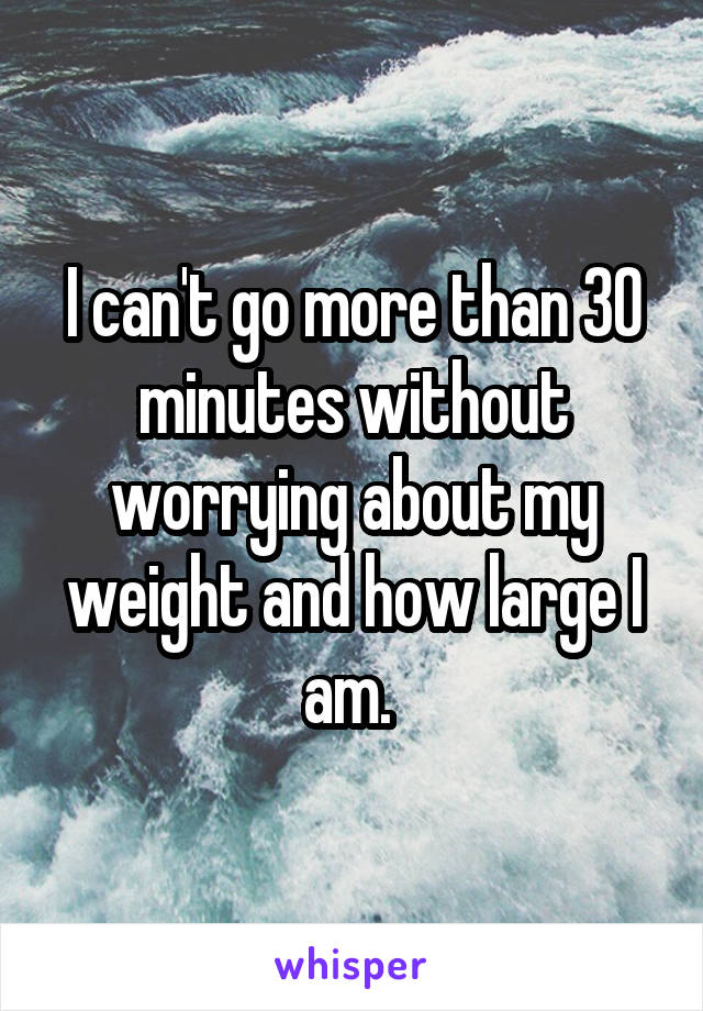 I can't go more than 30 minutes without worrying about my weight and how large I am.