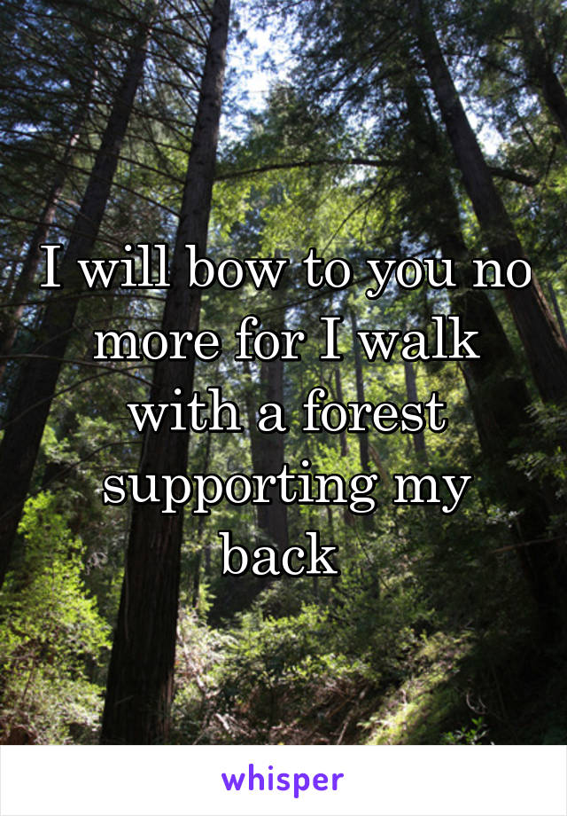 I will bow to you no more for I walk with a forest supporting my back