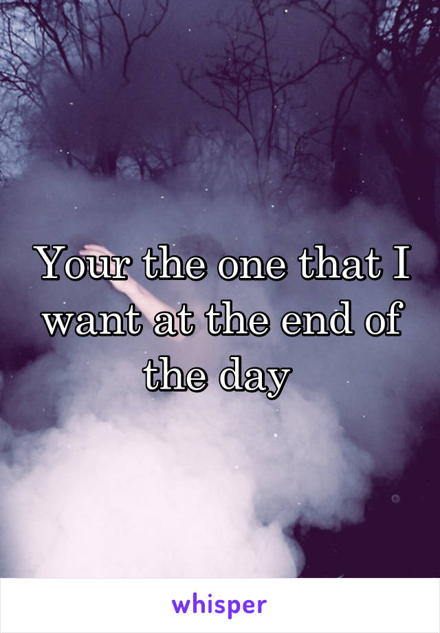 Your the one that I want at the end of the day