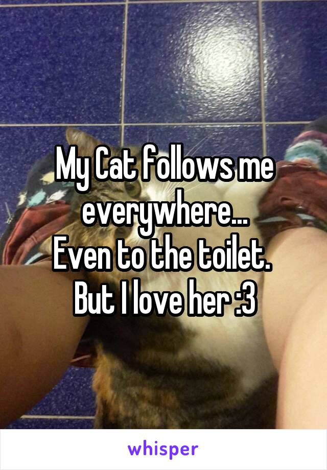 My Cat follows me everywhere... Even to the toilet.  But I love her :3