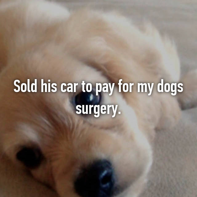 Sold his car to pay for my dogs surgery.