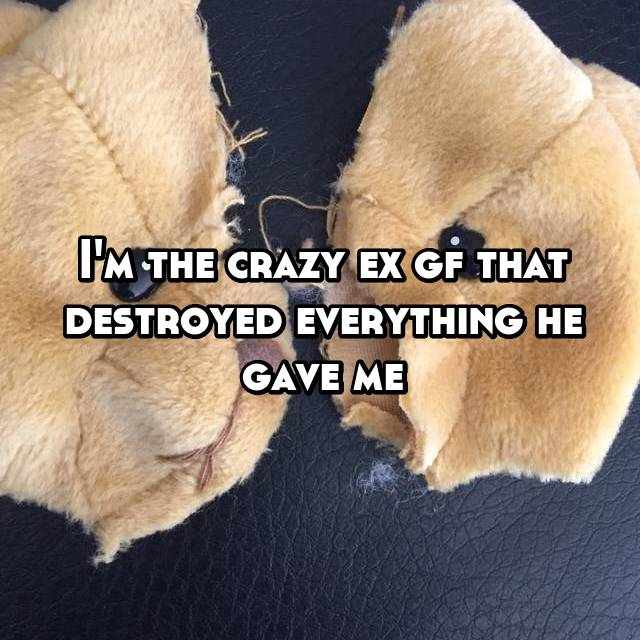 I'm the crazy ex gf that destroyed everything he gave me
