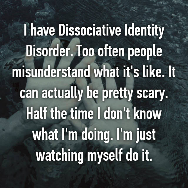 dating someone with dissociative identity disorder Unlike retrograde amnesia (which is popularly referred to simply as amnesia, the state where someone forgets events before brain damage), dissociative amnesia is not due to the direct physiological effects of a substance (eg, a drug of abuse, a medication, dsm-iv codes 2911 & 29283) or a neurological or other general medical condition (eg.