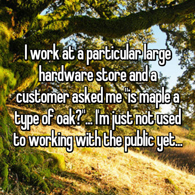 """I work at a particular large hardware store and a customer asked me """"is maple a type of oak?""""... I'm just not used to working with the public yet..."""