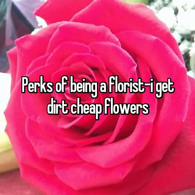 Perks of being a florist-i get dirt cheap flowers
