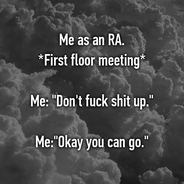 "Me as an RA. *First floor meeting*  Me: ""Don't fuck shit up.""  Me:""Okay you can go."""