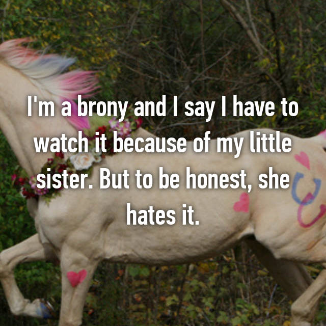 I'm a brony and I say I have to watch it because of my little sister. But to be honest, she hates it.