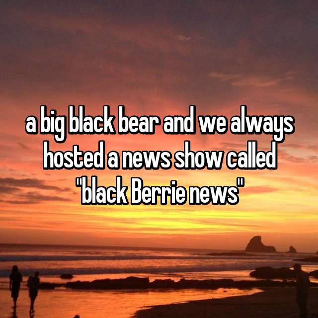 "a big black bear and we always hosted a news show called ""black Berrie news"""