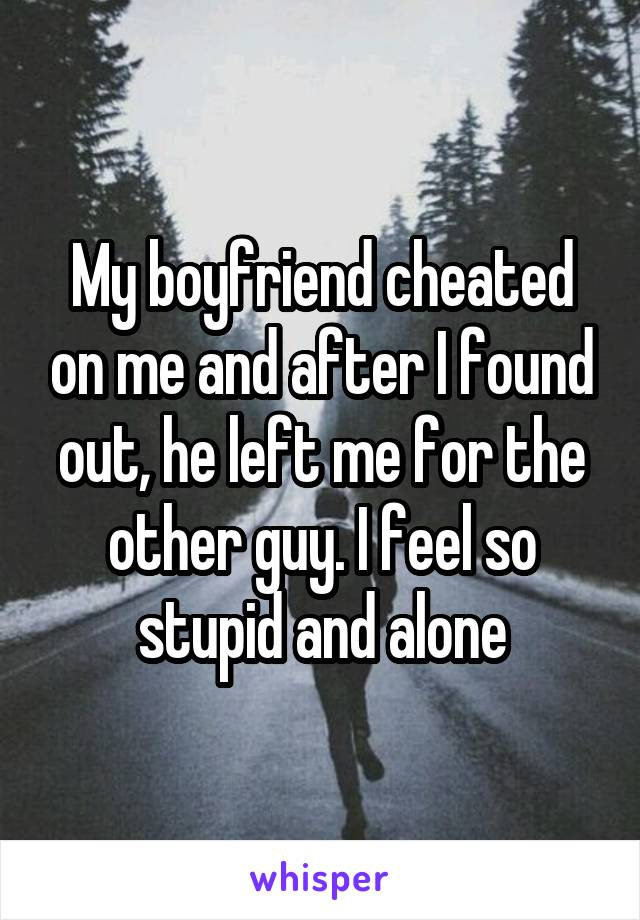 My boyfriend cheated on me and after I found out, he left me for the other guy. I feel so stupid and alone