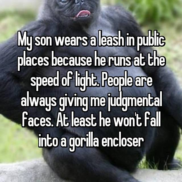 My son wears a leash in public places because he runs at the speed of light. People are always giving me judgmental faces. At least he won't fall into a gorilla encloser