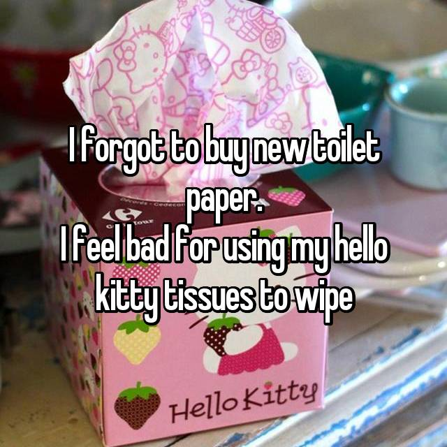 I forgot to buy new toilet paper. I feel bad for using my hello kitty tissues to wipe