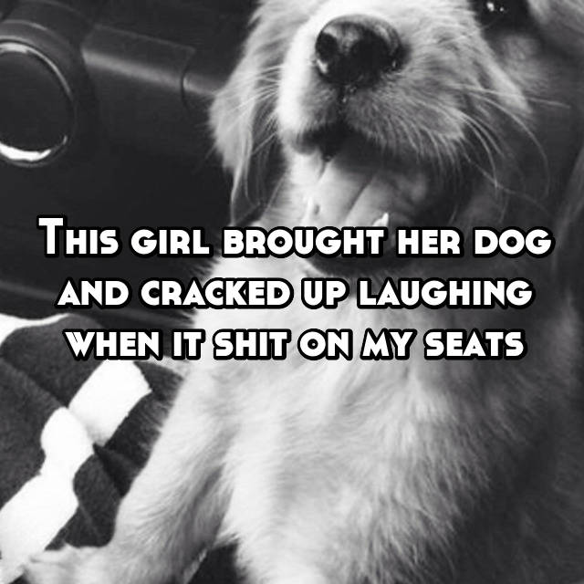 This girl brought her dog and cracked up laughing when it shit on my seats 😠