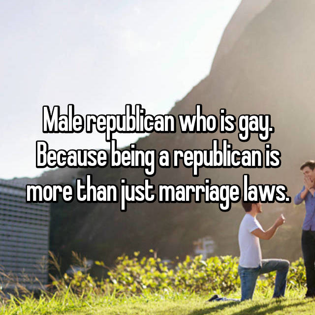Male republican who is gay. Because being a republican is more than just marriage laws.