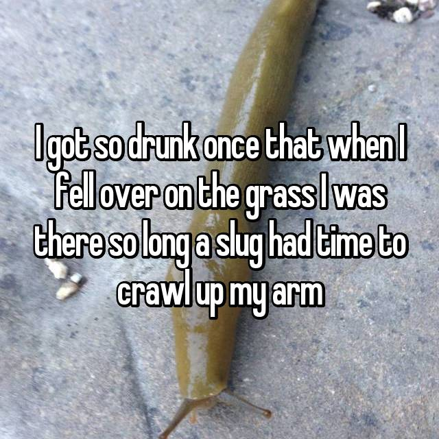I got so drunk once that when I fell over on the grass I was there so long a slug had time to crawl up my arm