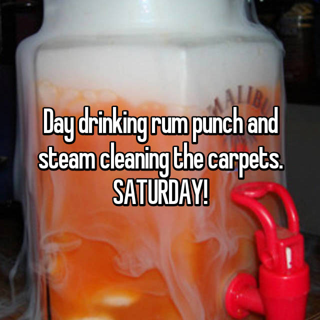 Day drinking rum punch and steam cleaning the carpets. SATURDAY!