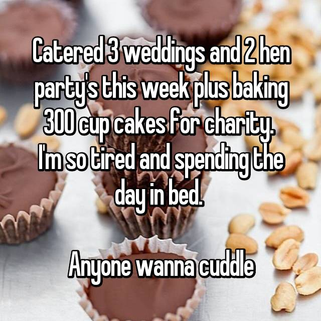 Catered 3 weddings and 2 hen party's this week plus baking 300 cup cakes for charity.  I'm so tired and spending the day in bed.   Anyone wanna cuddle