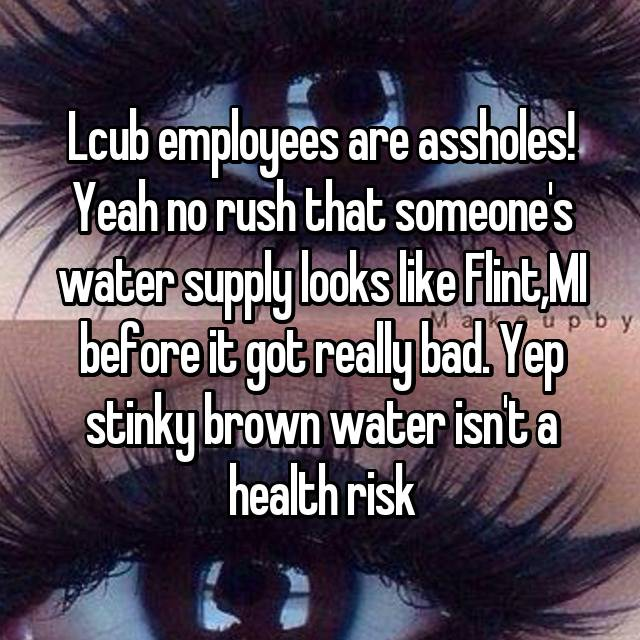 Lcub employees are assholes! Yeah no rush that someone's water supply looks like Flint,MI before it got really bad. Yep stinky brown water isn't a health risk 🙄