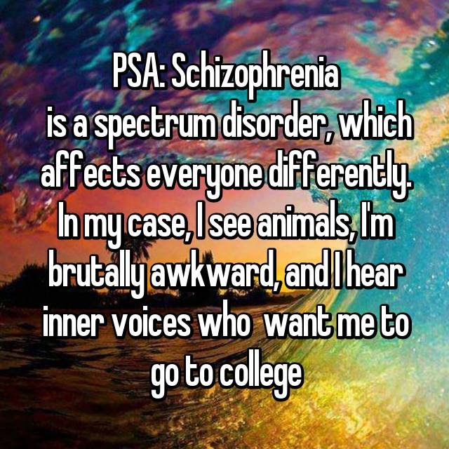 PSA: Schizophrenia  is a spectrum disorder, which affects everyone differently. In my case, I see animals, I'm brutally awkward, and I hear inner voices who  want me to go to college