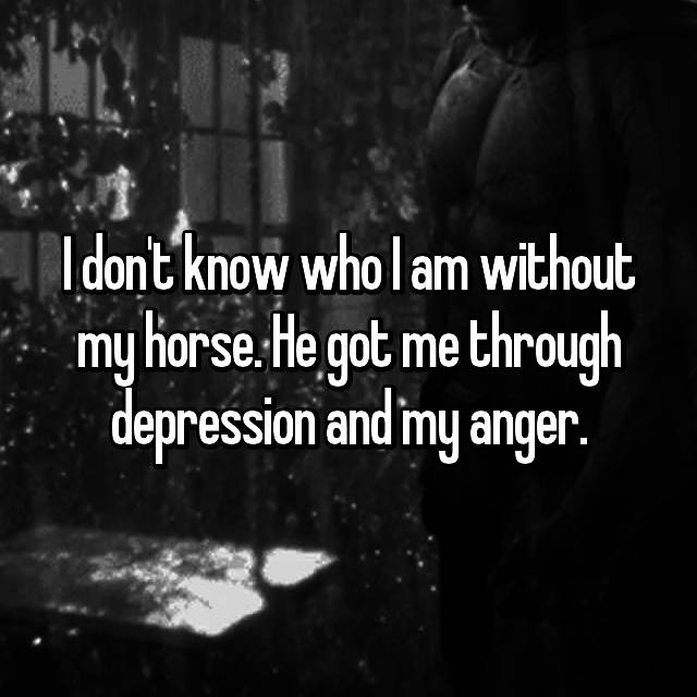I don't know who I am without my horse. He got me through depression and my anger.
