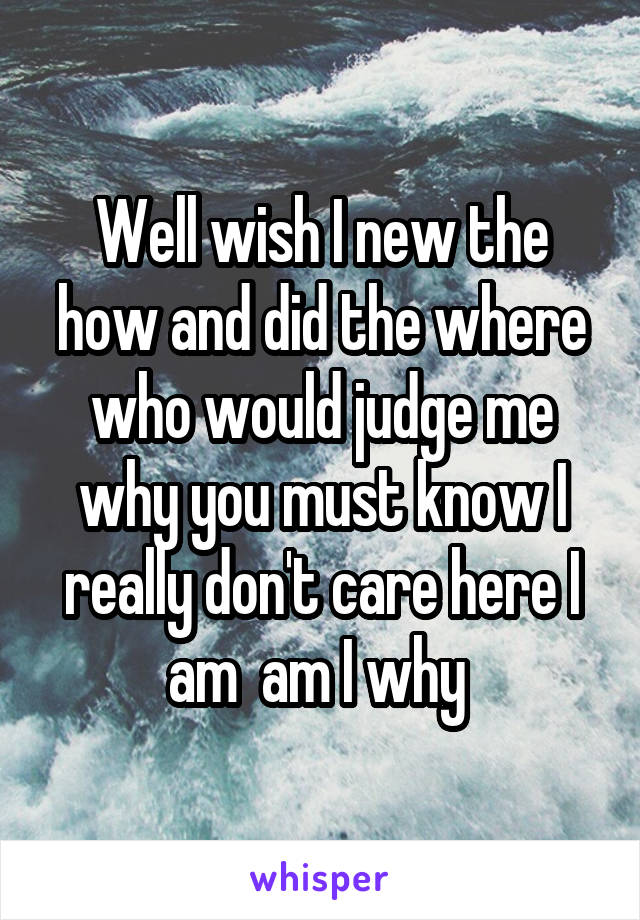Well wish I new the how and did the where who would judge me why you must know I really don't care here I am  am I why