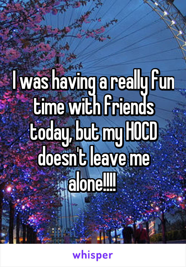 I was having a really fun time with friends today, but my HOCD doesn't leave me alone!!!!