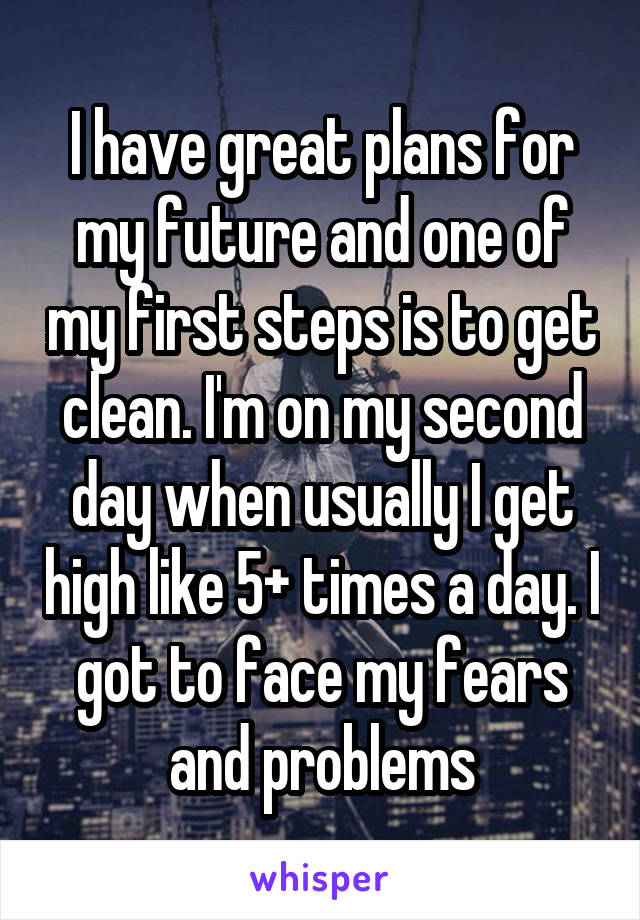 I have great plans for my future and one of my first steps is to get clean. I'm on my second day when usually I get high like 5+ times a day. I got to face my fears and problems