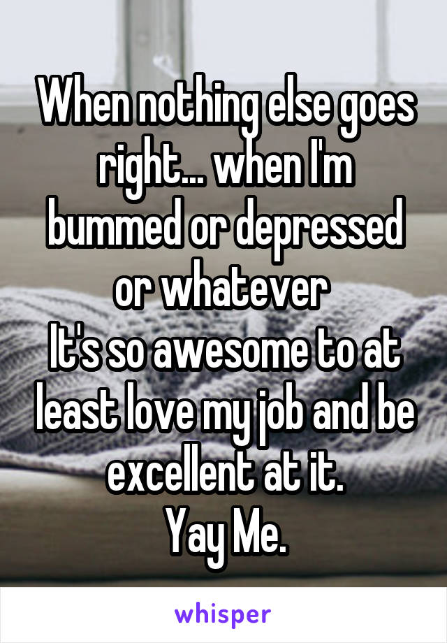 When nothing else goes right... when I'm bummed or depressed or whatever  It's so awesome to at least love my job and be excellent at it. Yay Me.