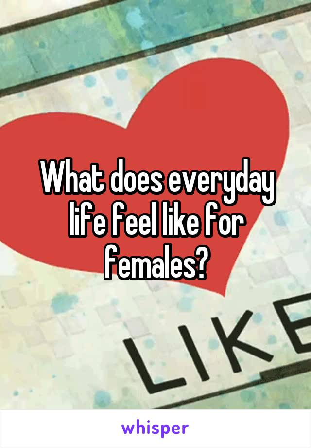 What does everyday life feel like for females?