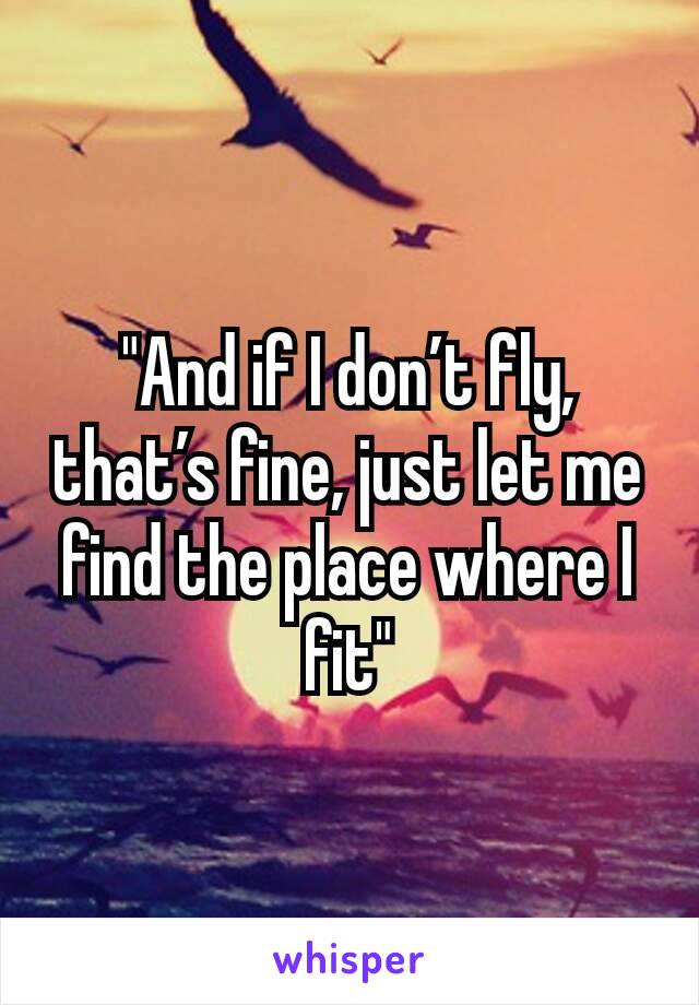 """And if I don't fly, that's fine, just let me find the place where I fit"""