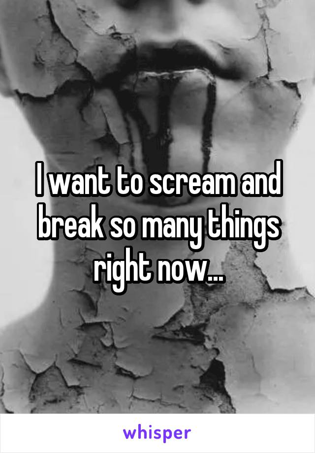I want to scream and break so many things right now...
