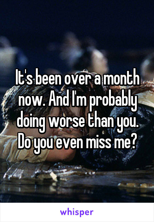 It's been over a month now. And I'm probably doing worse than you. Do you even miss me?