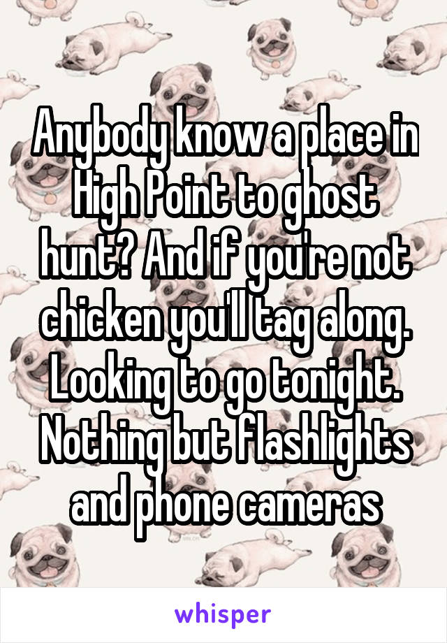 Anybody know a place in High Point to ghost hunt? And if you're not chicken you'll tag along. Looking to go tonight. Nothing but flashlights and phone cameras
